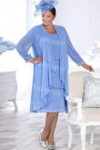 Sky Blue Chiffon women's outfit Knee-Length Plus size Mother of the bride  dress with jacket mps-359