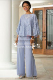 Sky Blue Mother of the bride pant with lace for Spring wedding mps-170