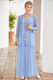 Sky Blue Mother of the bride trouser suits Loose women's lace outfits mps-184