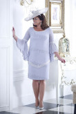 Sky blue Plus size Mother of the bride dress with Trumpet sleeves mps-344