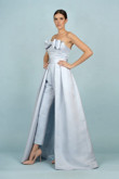 Sky Blue Satin Wedding pants Detachable Train Bridal Jumpsuit Gown so-137