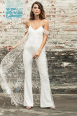 Spaghetti Dressy Wedding Jumpsuit dresses With train so-081