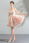 Spaghetti pink Homecoming Dresses A-line Sexy prom dresses TSJY-061