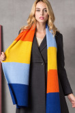 Stylish British Wind Woman Autumn Winter Plaid Scarves Blue Sky Blue Orange and Yellow