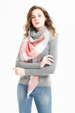 Stylish Women's Scarf lightweight Soft Triangular Shawl Watermelon Red  and Gray