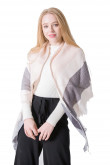 Stylish Women's Shawl lightweight Spring Scarf Pink and Gray plaid