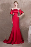 Sweep Train Red Satin Evening dresses with Hand beading so-027