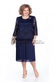 Tea-Length Dark Navy Lace Mother of the Bride Dress Long Sleeves Women Dress mps-504