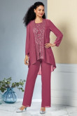 Three pieces Hand Beading Mother of the bride pant suits dress mps-086