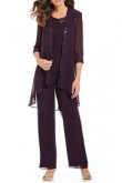 Purple Three pieces Chiffon pants outfit for Mother beach wedding mps-129