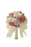 Watermelon and ivory for Home Garden Wedding Party holding flowers