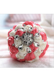 Watermelon and Ivory Crystal Informal Artificial Flowers Rose for bride holding flowers