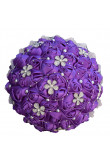 Wedding bouquets for bride Purple for Bridesmaid Bouquet with Hand Beading Pearls