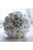 White and Ivory Crystal Informal Artificial Flowers Rose for bride holding flowers