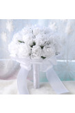 White Artificial Flowers Rose Wedding Bouquet with Pearls