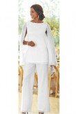 White Elegant Mother of the bride pant suits dress with Draped Cape Trouser set mps-081