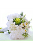 White Rose and Aloe vera for Home Garden Wedding Party flowers with Green Silk