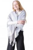 Women's Shawl Triangular Scarf Stylish Spring Scarves Sky blue and Gray plaid