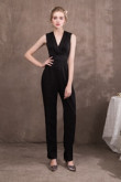 Black Charmeuse V-Neck wedding Jumpsuits for special occasion dresses so-047