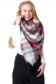 Women's Classic Plaid Shawl Square Scarf Oversized Soft Chunky Scarves