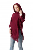 Women's Crochet Poncho Knitting Hooded Cape with Fringed Hem Burgundy Free Shipping