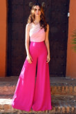 Women Jumpsuit dress Rose red One Shoulder wedding party pants so-184