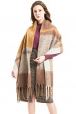 Popular Women's Winter Plaid Long Scarf Stylish Tassels Scarves Brown