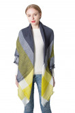 Women's shawl Yellow and Gray Plaid Scarf Fashion Fall Winter Square Scarves