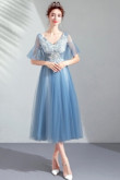 Yabreny 2019 Modern Sky Blue Homecoming dresses Mid-Calf Prom Dresses TSJY-007