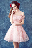 Yabreny 2020 Off the Shoulder prom dress A-line pink Homecoming Dresses cyh-037