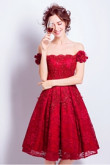 Yabreny Burgundy lace Homecoming Dresses Knee-Length Off the Shoulder prom Dresses TSJY-038