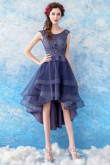 Yabreny Dark Bule Asymmetry Prom dress Front Short Long Back Homecoming Dresses TSJY-001