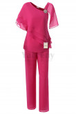 Fashion Chiffon Mother of the Bride Pants suit 2PC Outfit Rose Red