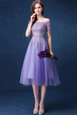Yabreny Mid-Calf Off the Shoulder prom Dresses Grape Homecoming Dresses TSJY-022