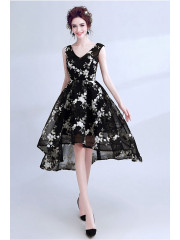 2020 New Style Black Appliques Homecoming Dresses Asymmetry prom dresses TSJY-040