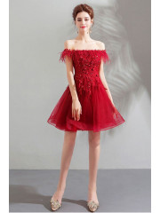 Burgundy Off the Shoulder Homecoming Dresses A-line Sexy prom Dresses TSJY-051