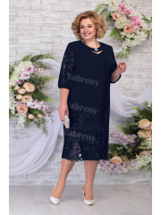 Dark Navy Elegant Plus size Sky Blue Women's Dresses,Half Sleeves Mother of The Bride Dresses mps-477-2
