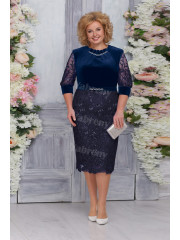 Dark Navy Velvet Mother of The Bride Dresses,Plus size Knee-Length Women's Dresses mps-473-1