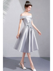 A-line Under 100 Homecoming Dresses Gray Prom Dresses TSJY-045