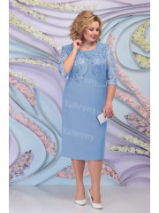 Sky Blue Lace Mother of the Groom Dresses Plus Size Half Sleeves Women's Dress mps-466-5