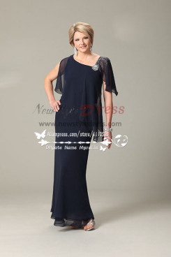 Dark navy georgette mother of the bride dress mps-188