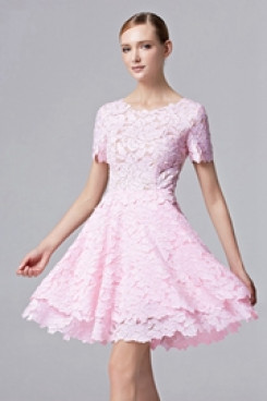 2020 A-Line Hot Sale pink lace Homecoming Dresses cyh-019