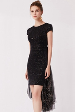 2020 Black Sequined Fabrics under $100 Homecoming Dresses cyh-014