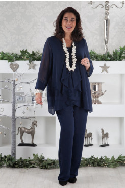2019 Dark navy chiffon Mother of the bride pants suits dresses outfits mps-030