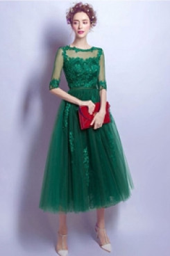 2020 Elegant Green lace Homecoming Dresses Ankle-Length prom dresses TSJY-041