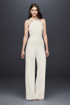 2020 Fashion Bridal Jumpsuits Simple little white dresses so-123
