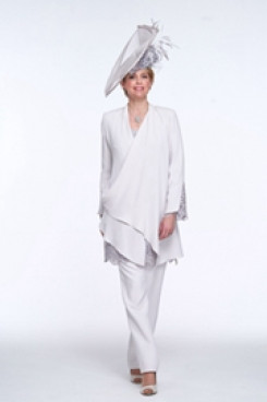 Charcoal Mother of the bride pant suits High-end Chiffon Trouser outfits mps-105