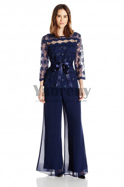 2019 New Arrival Navy pants suit mother of the beidal pants suite mps-052