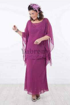 2019 New arrival Purple chiffon Mother of the bride dresses outfit with hand Crystal mps-020