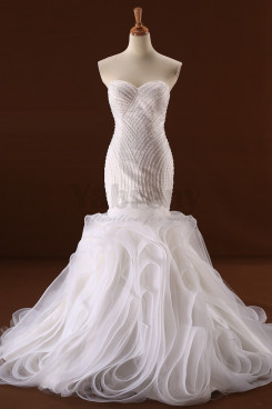 2020 New arrival Ruffles Exquisite Hand beading Mermaid Wedding dresses wd-032
